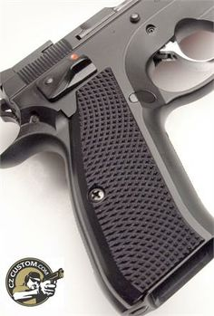CZ 75 Thin, Long, Black, Aggressive Checker Grips