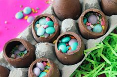 DIY Hollow Chocolate Confetti Eggs. All you need are a few hollow eggs, a little melted chocolate as glue, and lots of sprinkles! #Easter