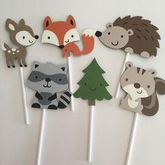 Woodland Animals Cupcake Toppers   Woodland Party Decor   Woodland Critters   Woodland Cupcake Toppers   Animal Party Decor by EandABabyShop on Etsy https://www.etsy.com/listing/455391724/woodland-animals-cupcake-toppers