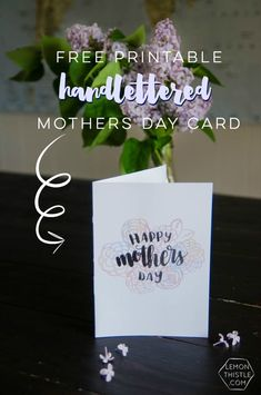 Free Printable Hand Lettered Watercolor Mothers Day Card