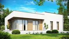 Biała otynkowana elewacja oraz drewniane okładziny są świetnym dopełnieniem stylu modern.