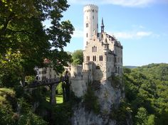 Castle Lichtenstein situated on a cliff located near Honau in the Swabian Alb, Baden-Württemberg, Germany.