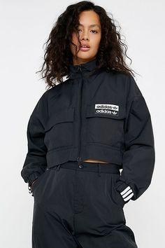 adidas Originals Utility Pocket Track Jacket - black UK 12 at Urban Outfitters Bomber Jacket Winter, Bomber Jackets, Women's Jackets, Adidas Originals, Pants For Women, Jackets For Women, Sporty Outfits, Sporty Fashion, Ski Fashion