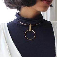 2016 do vintage simples torque pingente colares para as mulheres de cobre redondo círculo binários choker declaração colar bijoux xrn38
