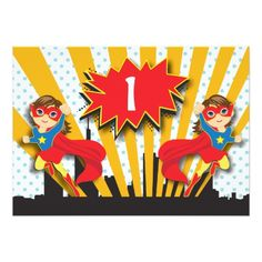 Twins Birthday Party Invitations Twins Superhero Birthday   Brown Hair Girls Card
