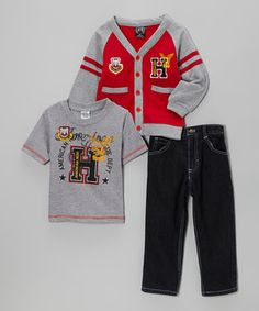 Dapper little dudes will feel like a million bucks in this classy sweater, tee and jeans combo. It's the perfect outfit for looking good and having fun at the same time. Moms love the classic style of a cardigan, and kids will adore the comfy fit and cool graphics.