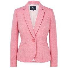 Viyella Wool Tweed Jacket, Pink ($275) ❤ liked on Polyvore featuring outerwear, jackets, red jacket, long sleeve jacket, womens plus size jackets, plus size jackets and wool jacket