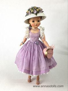 Rare 1958 Lavender Check Sundress on Vintage Madame Alexander Cissy doll www.annasdolls.com