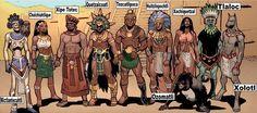 Aztec Gods: Gods from many cultures drew as Comic book Superheroes - México Azteca