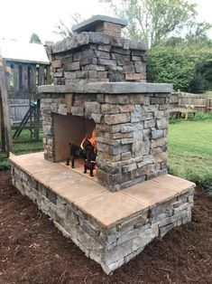 Outdoor Fireplace Plans, Outdoor Stone Fireplaces, Outdoor Fireplace Designs, Backyard Fireplace, Diy Fireplace, Fireplace Stone, Backyard Patio Designs, Backyard Ideas, Firepit Ideas