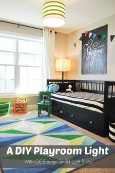 A DIY light fixture for Thomas playroom...love the green and white