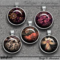 Fraktale Blumen – Digital Design - Set 1 - 20 Buttons zum Ausdrucken. 300 DPI