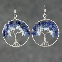 Pendientes del árbol de la vida de playa azul alambre envuelto, inche 1.2 ronda pendientes manchadas con aguamarina, lapislázuli, blanco mezclado piedras preciosas