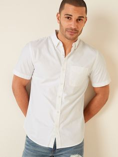 Built-In Flex Oxford Short-Sleeve Shirt For Men