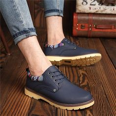 British Lace Up Round Toe Oxford Shoes For Men