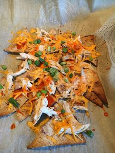 Flat out nachos 8 smart points -1 flatout wrap cut into wedges and broiled for 4 minutes to crisp up, 3 pts worth of shredded chicken, 1/3 cup of light cheese, Franks Buffalo wing sauce and green onions - once flat out has crisp up- load the toppings and bake until cheese melts smart watches - http://amzn.to/2ifqI9j