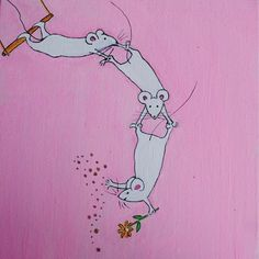 Original Ink and Paint Artwork -  Circus Mouse by Clootielugs  So Cute!