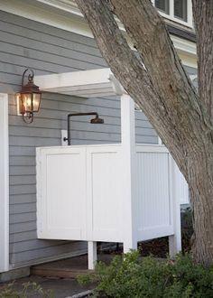outdoor shower design ideas, metal and wooden shower enclosure Outdoor Spaces, Outdoor Living, Outdoor Decor, Outdoor Lantern, Outdoor Forts, Indoor Outdoor, Outdoor Shower Inspiration, Outside Showers, Outdoor Showers