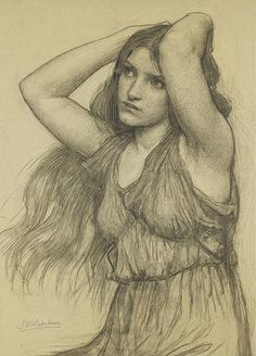 "John William Waterhouse, ""Flora"" Pre Raphaelite is one of my most favoured Art movements John William Waterhouse, Life Drawing, Painting & Drawing, Cave Painting, Portraits, Gravure, Oeuvre D'art, Art History, Amazing Art"
