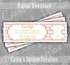 Baby Girl Diaper Raffle Tickets Baby Shower Game Pink Gold Instant Digital Download by CathysUniqueCreation