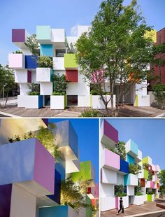Cubical Facade of Sugamo Shinkin Bank Architecture Du Japon, Modern Japanese Architecture, Colour Architecture, Concept Architecture, Facade Architecture, Amazing Architecture, Design Maternelle, Exterior Design, Interior And Exterior