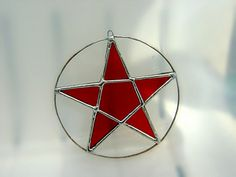 Pentacle Pentagram Stained Glass Star Magic Halloween Housewarming Original Design Yule Solstice Spring Wedding Wicca Pagan Birthday Gift. $35.00, via Etsy.