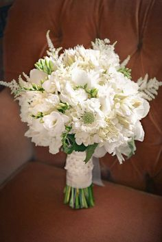 Your bouquet is more than just a bundle of different blooms. Playing off of seasonal trends, or utilizing your favorite garden-picked assortment, the bouquet you carry on your big day serves as an … All White Wedding, White Wedding Bouquets, Floral Bouquets, Floral Wedding, White Weddings, Diy Wedding, Wedding Reception, Wedding Ideas, Wedding Rings