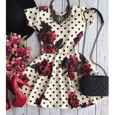 Vintage Rose and Polka Dot   Dress