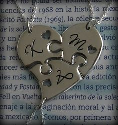 Three Piece Heart Puzzle Personalized with by JigsawSilver on Etsy