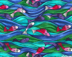 Ocean Waves - Leaping Fish - French Blue