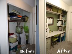 Craft Closet Makeover Turn an old closet into a work place.keep the closet doors on to hide from company and kiddos for tje front closet. better than a sitting area. Closet Desk, Closet Office, Closet Space, Home Office, Closet Doors, Hall Closet, Entry Closet, Front Closet, Space Crafts