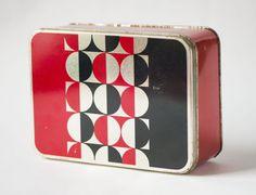 Modern tin box red black bubbles can box Soviet by SovietEra