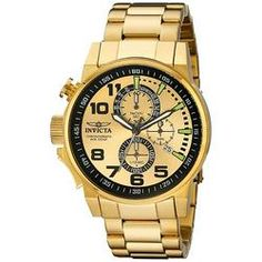 c1d9668b363 Invicta 14958 Men s I Force Lefty Gold Dial Gold Plated Steel Bracelet  Chronograph Watch Discount Watches