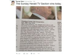 "Donald Trump inauguration TV listing goes viral George Takei wrote: ""The Sunday Herald TV Section win today"""