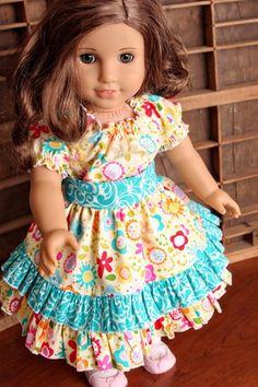 "18"" Doll Dress featuring Summer Breeze fabric by Bella Blvd. for Riley Blake Designs #summerbreeze #bellablvd #rileyblakedesigns"
