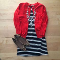 Cardigan Outfits for Work 15 stylish ways to wear red at the office - dresses for work Red Cardigan Outfits, Striped Dress Outfit, Cute Dress Outfits, Casual Dresses, Dress Red, Casual Wear, Stripe Dress, Casual Chic, Casual Shoes