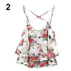 Women's Summer Spaghetti Strap Flower Print Chiffon Shirt Vest Blouses Crop Top 6L7K