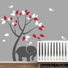 Wall Mural for Nursery with Tree and Jungle Animals
