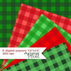 printable gingham digital collage sheet, Christmas colors, green, red, scrapbooking paper pack, background, set of 5, instant download