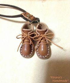 Necklace_Mini_Boots ハンドメイド 革 編み上げショートブーツ ネックレス ブラウン インテリア 雑貨 Handmade ¥800yen 〆10月20日