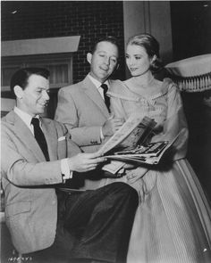 Frank Sinatra, Bing Crosby and Grace Kelly on the set of High Society