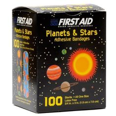 Buy First Aid Children's Adhesive Bandages: Planets and Stars 100 Per Box at Discounted Prices ✓ FREE DELIVERY possible on eligible purchases. Mission Projects, First Aid Supplies, Medicine Journal, Bandage, Wound Healing, Kid Character, First Aid Kit, Neon Colors, Latex Free
