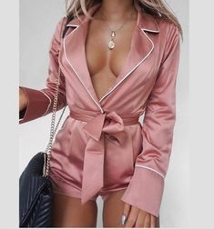 Fashion Women Sexy Deep V neck Playsuit combinaison pantalon femme elegante Long Sleeve Satin Tunic OL Party Club pajamas Long Sleeve And Shorts, Short Jumpsuit, Ladies Jumpsuit, Satin Jumpsuit, Playsuit Romper, Pajama Romper, Rompers Women, Holiday Outfits, Fashion Week