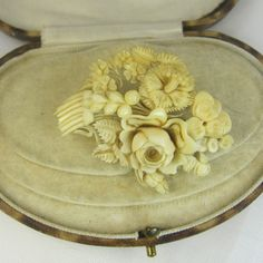 carved ivory victorian brooch