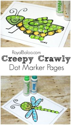 Free Creepy Crawly Dot Marker printables!  Fun fine motor and dot marker pages with a bug, insect, and general creepy crawly theme.
