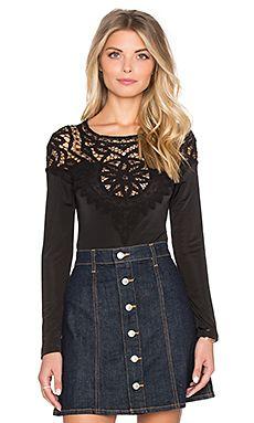 For Love & Lemons Penelope Bodysuit in Black