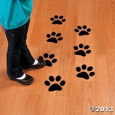 Paw Print Floor Decals - use to show entrance & exit if different doors - B