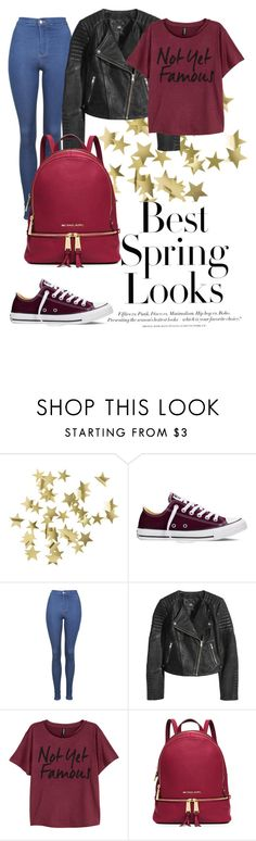 """My School on Friday"" by destinyfaith1207 ❤ liked on Polyvore featuring H&M, Converse, Topshop, MICHAEL Michael Kors, women's clothing, women, female, woman, misses and juniors"