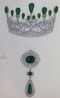 Part of the Emerald and Diamond Parure created for the marriage trousseau for the Grand Duchess Xenia.