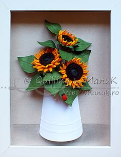 Quilled Sunflowers in a Paper Vase with Ladybug